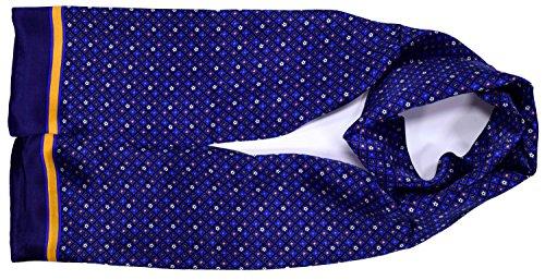Bleu Jaune Étoiles Imprimé Double Couche Longue Écharpe En Soie Pure