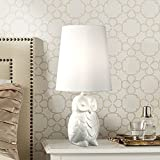 """Night Owl Cottage Accent Table Lamp 19"""" High Shabby Chic Ceramic White Tapered Drum Shade for Kids Room Side Table Bedroom - 360 Lighting"""