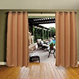 Cross Land Outdoor Curtains UV Protection Thermal Insulated for patio,garden (54''x 108'', Chocolate)