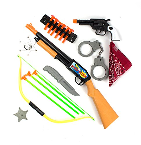 Wild West 18-Piece Set Cowboy and Indian Dress-Up Costume Accessories Includes Toy Shotgun with 6 Suction Tip Darts, Red Bandanna, Silver Badge,1 Click-Action Gun,Bow with Arrows by Imprints (Wild West Costumes Indians)