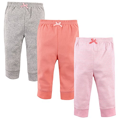'Luvable Friends Baby Girls 3 Pack Tapered Ankle Pants, Light Pink Stripes, 18-24 (Light Cotton Pants)