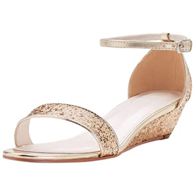 6c87e73e7762 David s Bridal Glittery Low-Wedge Sandals Style Maye
