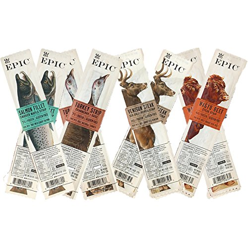 Smoked Salmon Jerky - Epic 8 Pack Assortment, Epic Snack Steak Strip Paleo Jerky Wagyu Beef, Turkey Cranberry, Venison Salt & Pepper Steak, Smoked Salmon Maple, 0.8 oz