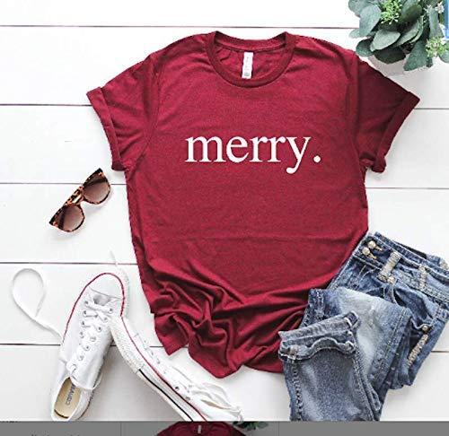 Merry Christmas T-Shirt - Cute Xmas Cheer - Happy Holiday Tees - Festive Womens Clothing - Xmas Party - Seasonal Outfit - Winter Holiday