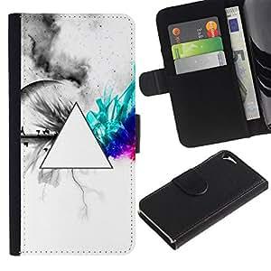 // PHONE CASE GIFT // Moda Estuche Funda de Cuero Billetera Tarjeta de crédito dinero bolsa Cubierta de proteccion Caso Apple Iphone 5 / 5S / Geometry Neon Triangle /