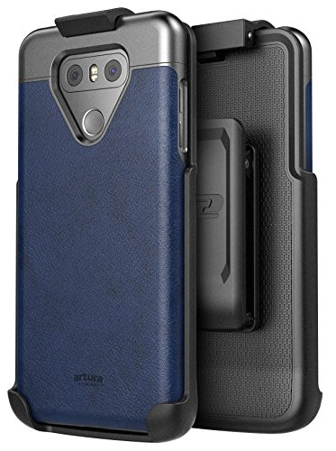LG G6 Vegan Leather Belt Clip Case w/ Holster - Artura Collection by Encased (Oxford Blue) (Blue Leather Case Belt Clip)