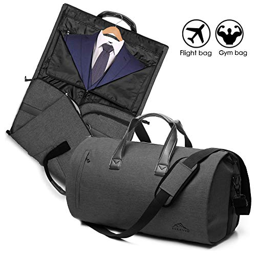 - 2 In 1 Garment Bag With Shoulder Strap, Convertible Suit Travel Duffel Bag Carry On Bag With Luggage Strap