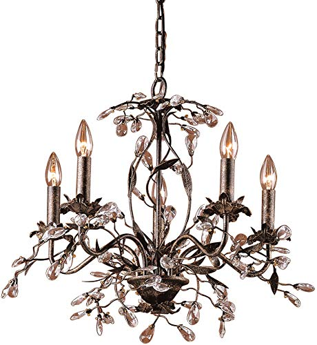 Elk 8053/5 5-Light Chandelier in Deep Rust and Crystal Droplets - Wrought Iron Furnishings