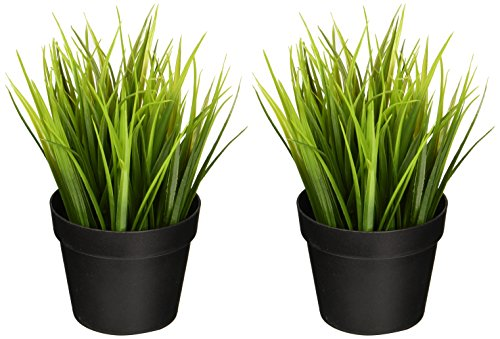 Ikea Artificial Potted Plant Wheat Grass 9'' Lifelike Nature Houseplant Decoration Fejka (SET OF 2) by Ikea Artificial Potted Plant