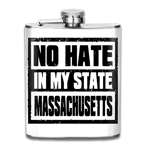 No Hate In My State Massachusetts 7 Oz Hip Flask Stainless Steel Wine Pot - Leak Proof - Men Women Gift