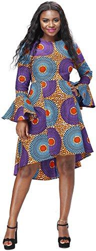 Shenbolen Women African Print Dresses Autumn And Winter Long Sleeves Ankara Dress (X-Large, A)