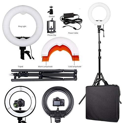 (12'' LED Ring Light Kit & Tripod Stand Dimmable for Camera Portrait Live Broadcast Video)