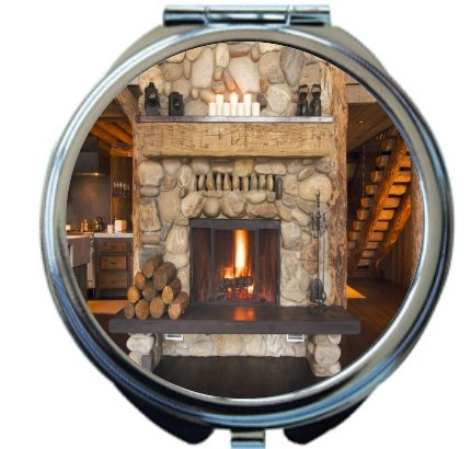 Rikki Knight Rustic Fireplace Design Round Compact Mirror by Rikki Knight