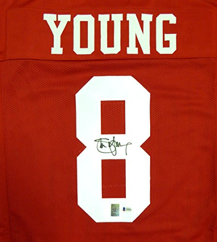 Steve Young Hand Signed (San Francisco 49ers Steve Young Autographed Red Jersey Beckett BAS)