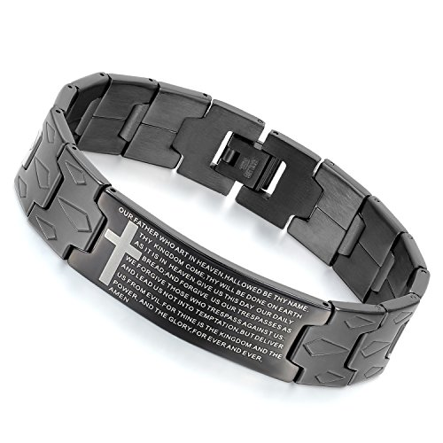 - Flongo Men's Vintage Stainless Steel Black Cross Black English Bible Lords Prayer Link Wrist Bracelet, 8.3 inch