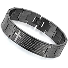 Flongo Men's Vintage Stainless Steel Black Cross Silver English Bible Lords Prayer Religious Link Wrist Bracelet
