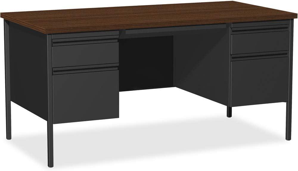 Lorell Double Pedestal Desk, Black Walnut, 60 by 30 by 29-1/2-Inch
