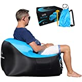 Treadway Air Chair by Rapid inflation, compact/lightweight, inflatable air filled beach/camping chair - Ideal for festivals, gaming, fishing, dorm room, bedrooms & travel. (Blue/Black)