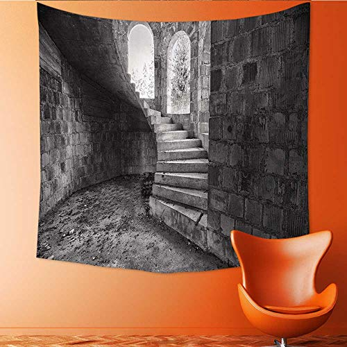 UHOO2018 Tapestry Wall Tapestry The Circular Staircase with st in an Abandoned House Art Wall Decor 55W x 55L (Grand Staircase Wall Tapestry)
