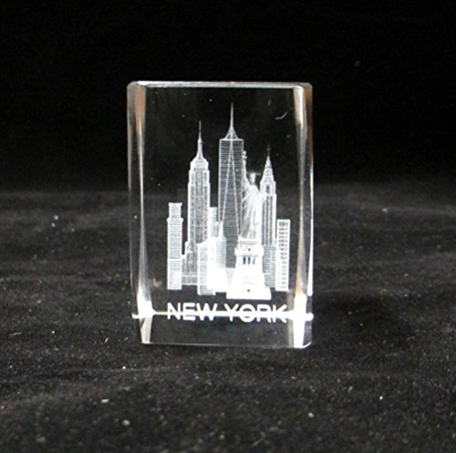 New York Souvenir NYC Skyline 3D Crystal Laser Etched Glass Paperweight with Statue of Liberty Empire State Building Freedom Tower USA Flag Mini Size (63001)