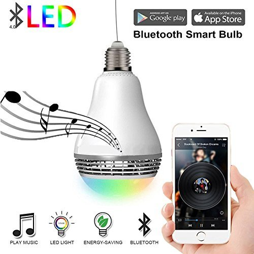LED Light Bulb with Bluetooth Speaker- Aelite Smart Color Changing APP Remote Control Night Light Bulbs 6W