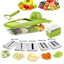 Mandoline Slicer-Vegetable Grater-Julienne Vegetable Slicer with 5 Stainless Steel Blades-Cutter for Cucumber, Onion, Cheese