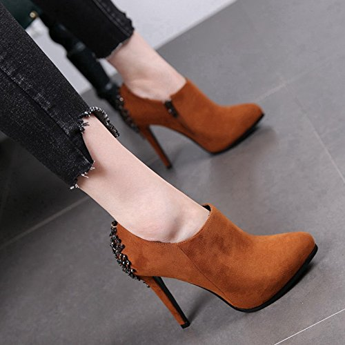 High Heeled Sharp Side High Martin Short Female New And MDRW Waterproofing Boots Heels Side caramel Fine Autumn Heels Heels Boots 11Cm Boots Zipper High 5EwnxzqF