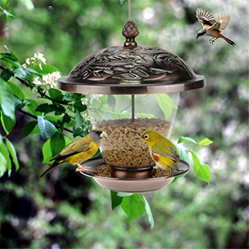 - Bird Feeder, Garden Bronze Metal Hanging Bird Feeder Lantern Appearance, 20X20x24cm