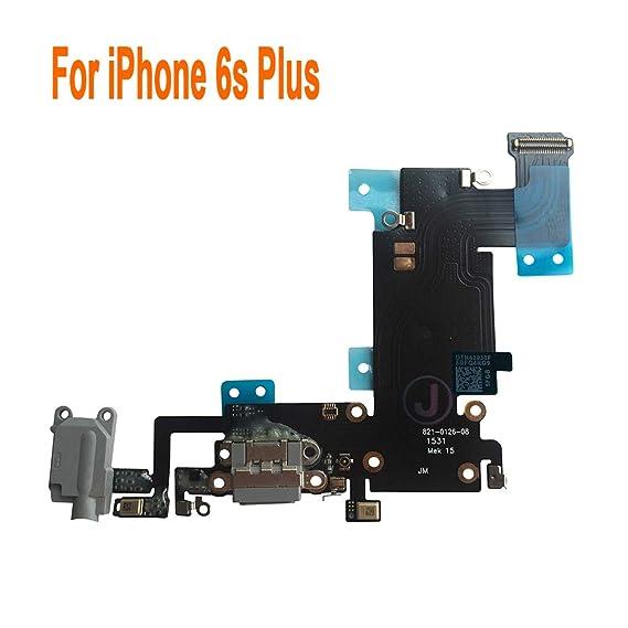new arrival 1a64e cefcf Johncase Charging Port Dock Connector Flex Cable w/Microphone + Headphone  Audio Jack Port Ribbon Replacement Part Compatible iPhone 6s Plus 5.5