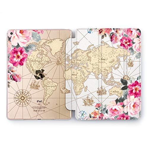 Wonder Wild Floral Map Apple iPad Pro Case 9.7 11 inch Mini 1 2 3 4 Air 2 10.5 12.9 2018 2017 Design 5th 6th Gen Clear Smart Hard Cover Wind Rose Flower Pastel Continent World Earth Sailing Ship Sea