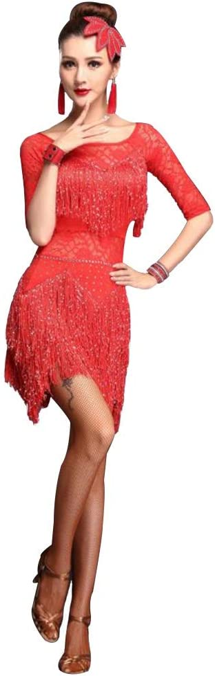 ラテンダンススカートラテンダンスドレス 女性用メッシュタッセルドレス 春夏ハイエンドゲームスーツ X-Large レッド レッド X-Large