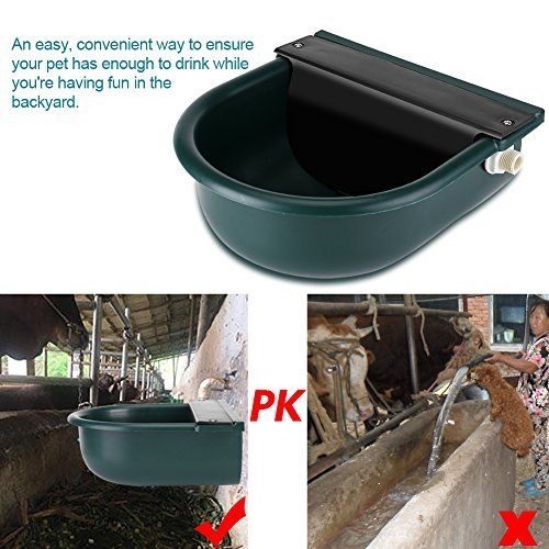 GOTOTOP Drinking Bowl For Dog, 4L Automatic Float Valve Water Trough Livestock Drinking Bowl for Cat Sheep Dog Horse Farm Supplies, Plastic + Copper