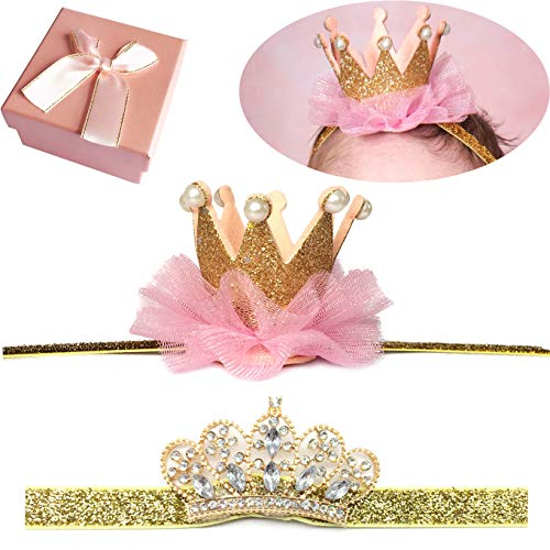 Elesa Miracle Baby Hair Accessories Baby Girl's Gift Box with Shiny Tiara Crown Headband Set (2pc- Gold) -