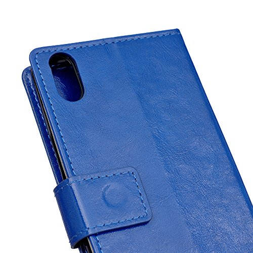 iPhone 8 Handycover, LifeePro für iPhone 8 Crazy Horse Pattern PU Leder Brieftasche Handycover mit Flip Stand Funktion Fotorahmen und Kartensteckplätze TPU Silikon Weiche Abdeckung Magnetverschluss Bl