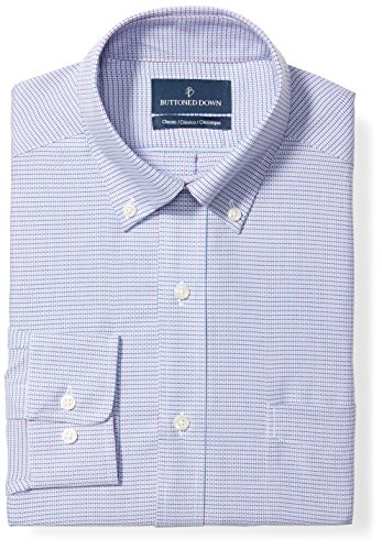 BUTTONED DOWN Men's Classic Fit Button-Collar Pattern Non-Iron Dress Shirt, Pink/Blue Micro Check, 19