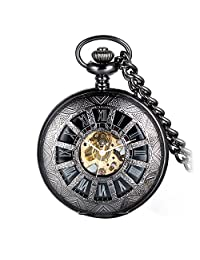 Avaner Retro Steampunk Half Hunter Black Hollow Skeleton Hand Wind Mechanical Roman Numeral Pocket Watch Pendant Necklace with Chain Gift for Men