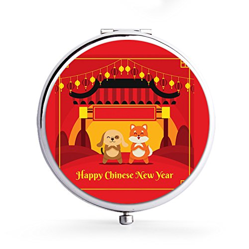 andhold Double Side Compact Travel Mirrors - Flower Crown EmojiChinese New Year Animal Dogs (Crown Compact Mirror)