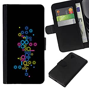 Abstract Colorful Circles - la tarjeta de Crédito Slots PU Funda de cuero Monedero caso cubierta de piel LG Nexus 5 D820 D821
