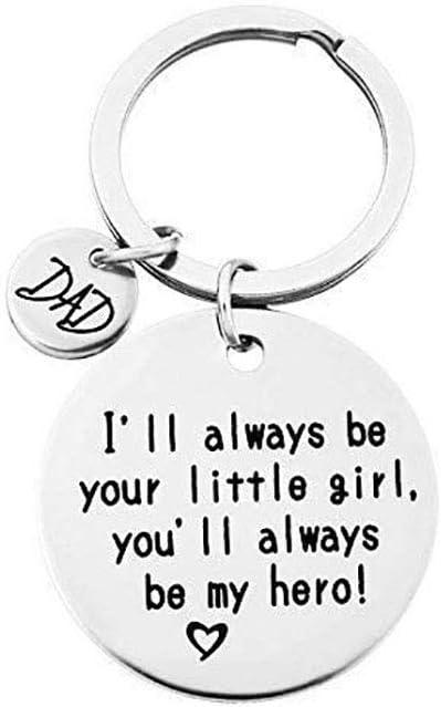 QICI Regalo del Día del Padre Llavero Joyería Llavero Regalos Navidad Keychain(I'Ll Always Be Your Little Girl, You Will Always Be My Hero) (1)