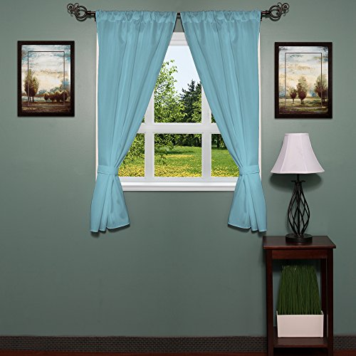 Sweet Home Collection Fabric Bathroom Window Curtain Hotel Quality Set of Two Durable 36'' x 54'' Panels with Pair of Tiebacks, Spa Blue by Sweet Home Collection
