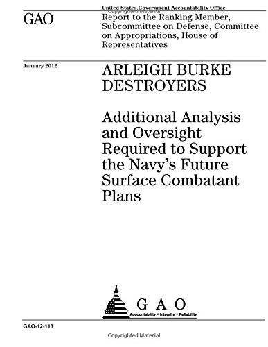 Arleigh Burke destroyers  : additional analysis and oversight required to support the Navy's future surface combatant plans : report to the Ranking ... on Appropriations, House of Representatives. ebook