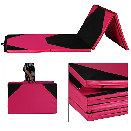 Sportmad Thick Folding Panel Gymnastics Tumbling Mat for Gym/Fitness/Exercise, Pink/Black