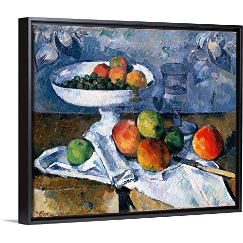 Paul Cezanne Floating Frame Premium Canvas with Black Frame Wall Art Print Entitled Still Life with Fruit Dish, 1879-80 24