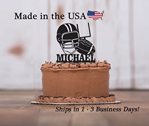 Football Cake Topper with FREE Keepsake Base, Athlete, Sports Theme, Boys Birthday Party, Helmet, Field Goal, Tailgate Party, Personalized Keepsake