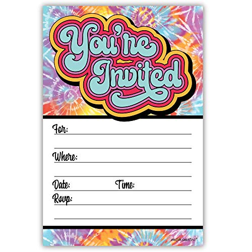 Hippie Tie Dye Invitations (20 Count) with Envelopes - 60s or 70s Birthday -