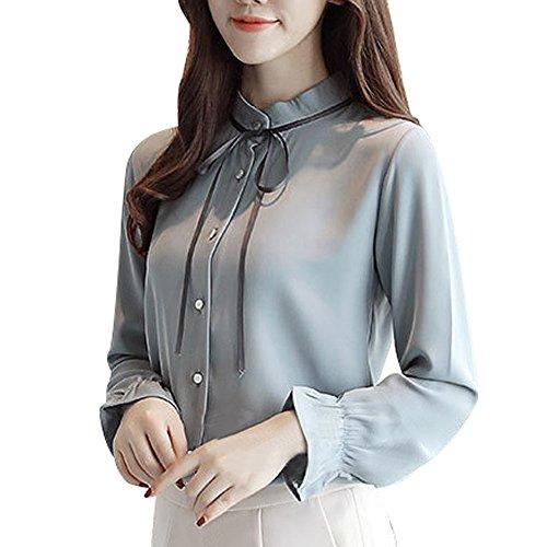 Pervobs Women Button Down Shirts Elegant Cute Chiffon Solid Long Sleeve Lace Up Workout T-Shirt Top Blouse Blusa(XL, Z05-Blue)