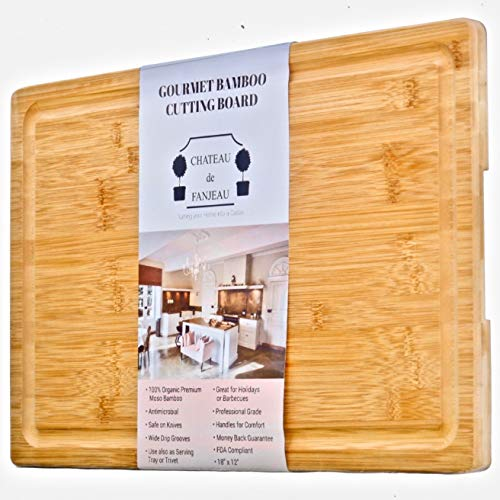 CHATEAU de FANJEAU - Extra Large Premium Organic BAMBOO CUTTING BOARD & SERVING TRAY - Wide Juice Groove prevents spilling; Perfect for Meat Vegetables Fruit Cheese Bread - 18x12 Handles - Tray Board Cutting