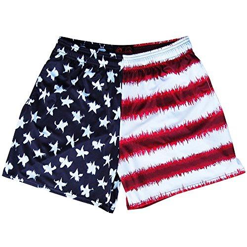 Adult Tie Dye Short (American Flag Tie Dye Rugby Shorts, Tie Dye, Adult Large)