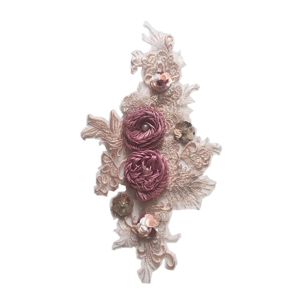 iTemer 1 Pieza Exquisito Vestido de Flores Bordado Apliques Vestido Falda Capucha Decorativos Bordados de Tela Pegatinas 35 * 17cm