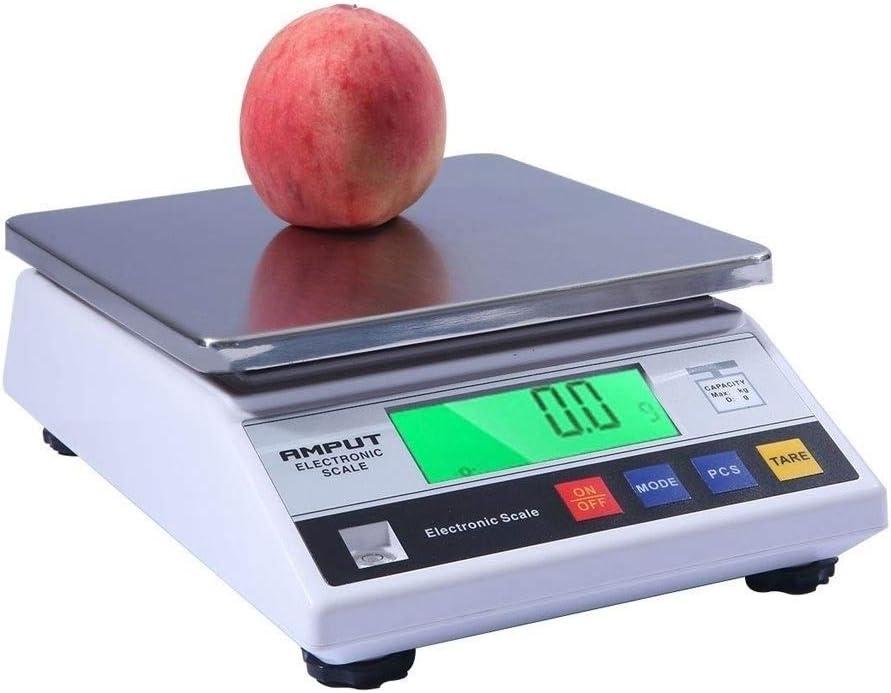 Escalas de Alimentos, 10 kg / 0,1 g de conteo de precisión con iluminación Pantalla Función de Tara Escala del alimento de Acero Inoxidable para un Peso de la Cocina del hogar,7.5kg/0.1g